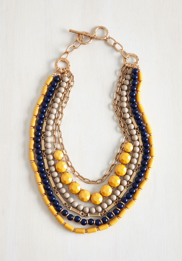 Yes You Glam Necklace in Mustard. Wondering if you can sport this statement necklace with that look? #multi #modcloth