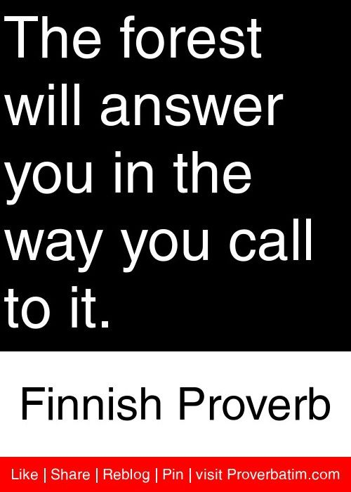 The forest will answer you in the way you call to it. - Finnish Proverb #proverbs #quotes