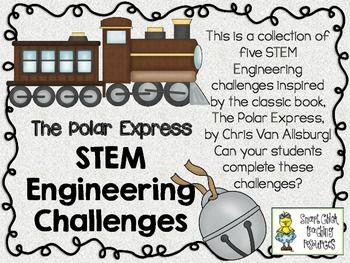 STEM Engineering Challenge Picture Book Pack ~ The Polar Express $ Make a Bell Challenge Gravity Sleigh Challenge Train Bridge Challenge Create a Toy Challenge Build a Paper Box Challenge