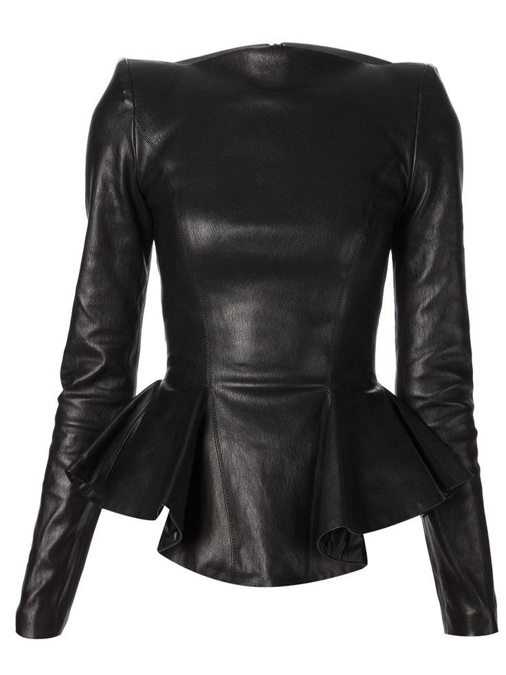 leather peplum top - plein sud