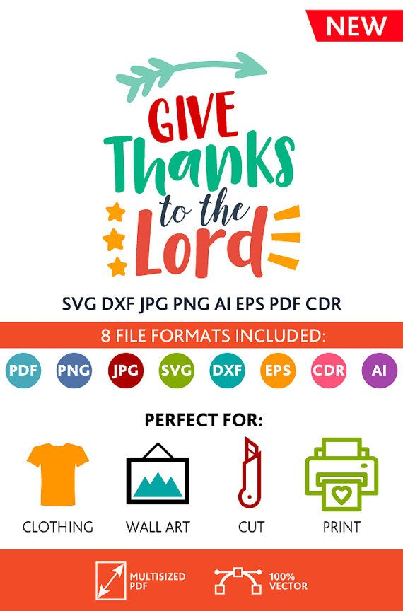 Give Thanks To The Lord SVG Cut Files Wall Art Quote Printable Art Decor room Art Printable Poster digital (Svg Dxf Cdr Eps Ai Jpg Pdf Png)
