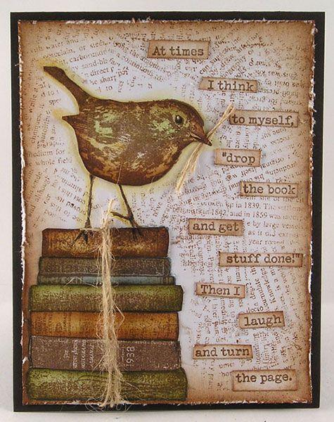 Card by Suzz Czosek using Darkroom Door Bookworm Rubber Stamps, Robin Eclectic Stamp and Torn Text Background Stamp. http://www.darkroomdoor.com/rubber-stamp-sets/rubber-stamp-set-bookworm