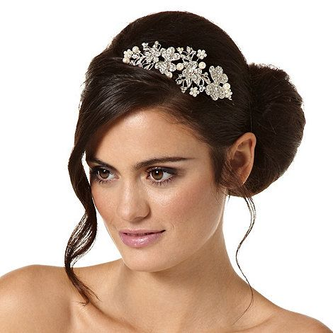 Jon Richard Crystal butterfly and pearl flower statement headband- at Debenhams.ie