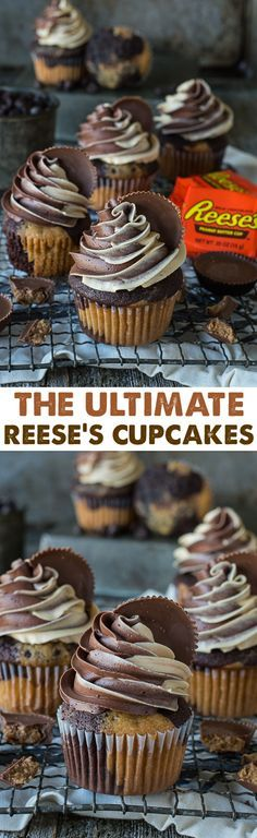The ultimate Reese's Cupcake with swirled chocolate peanut butter cake and swirled chocolate peanut butter buttercream, topped with a reese's peanut butter cup.