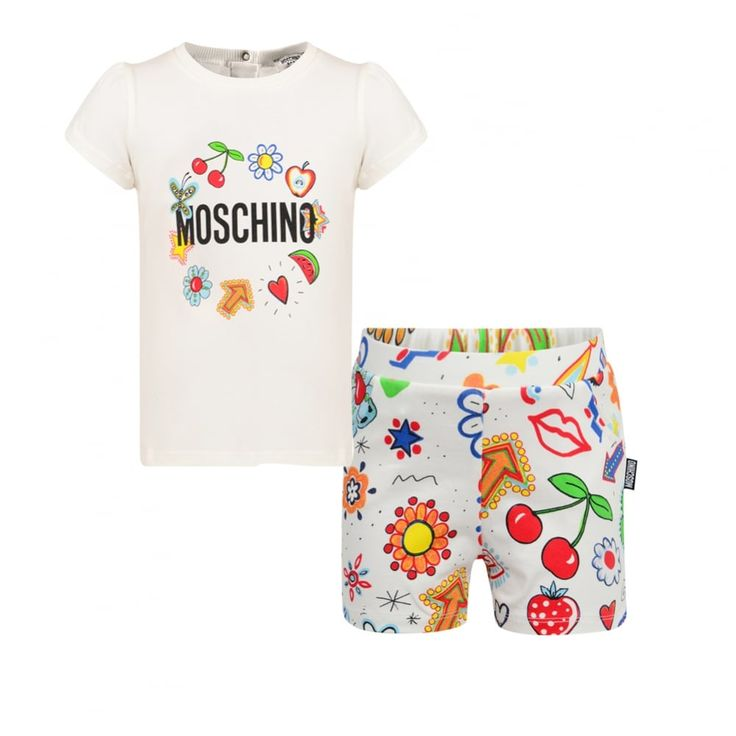 Moschino Baby Girls White Outfit Set with Multicoloured with Collage Print and Black Branded Text