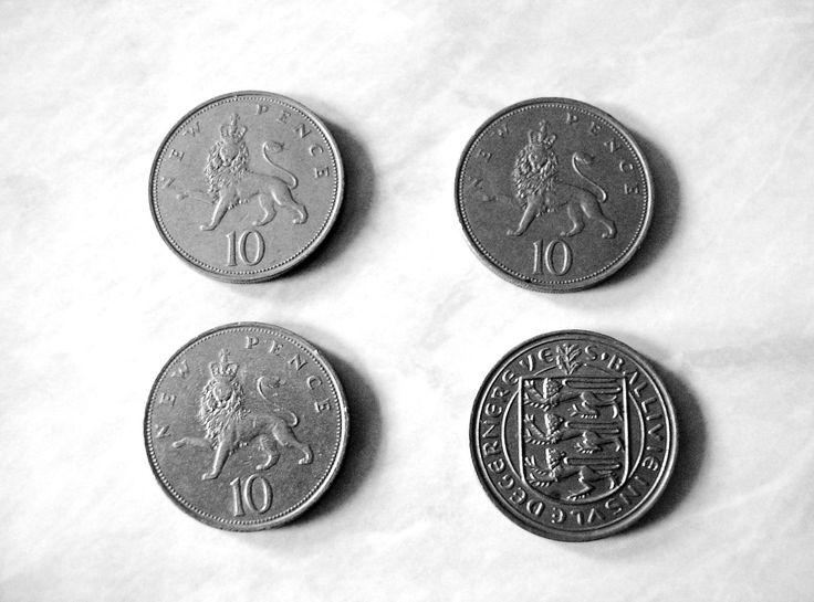 4 Vintage Queen Elizabeth II 10 pence coins 1960s 1970s collectible Great Britain England Numismatics United Kingdom England Guernsey cow by TheIrishBarn on Etsy