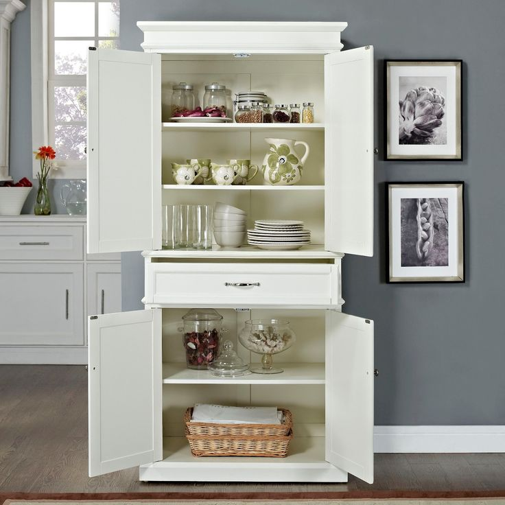Never be low on storage space again, thanks to the Parsons Pantry. The extremely spacious shelves and a perfectly placed drawer in the middle will easily accommodate almost anything you need to store. Gracefully raised panel doors and genuine metal hardware make for a sturdy constructed pantry. The deep storage drawer which is placed between the shelves provides additional storage options and is mounted on full extension glides. The shelves are removable and easily adjustable according to…