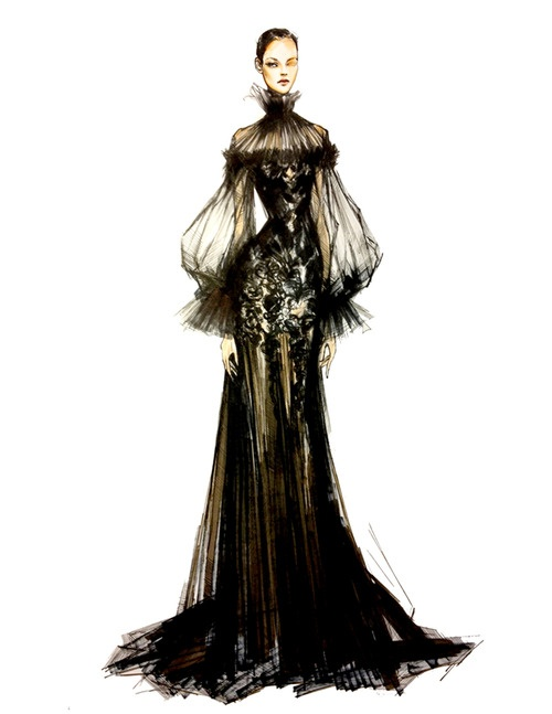 Illustration of Alexander McQueen's Prefall 2012 collection.