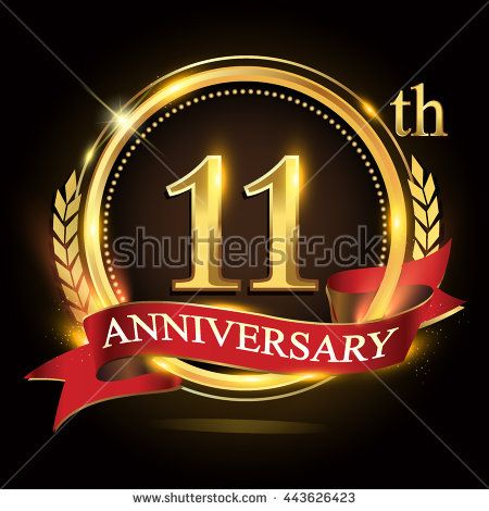 11th golden anniversary logo, 11 years anniversary celebration with ring and red ribbon, Golden anniversary laurel wreath design. - stock vector