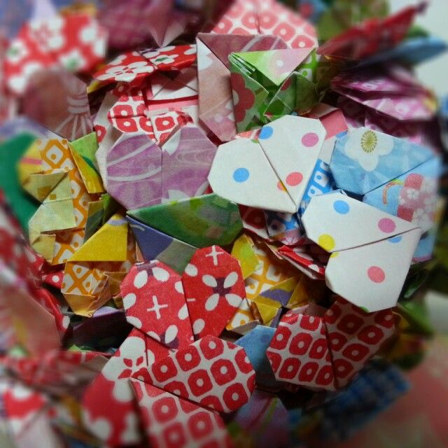 Origami hearts for my invitation cards