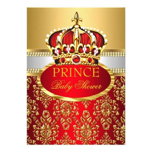 Prince Royal Red Crown Baby Shower Invitation