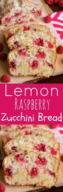 Lemon Raspberry Zucchini Bread with Lemon Glaze