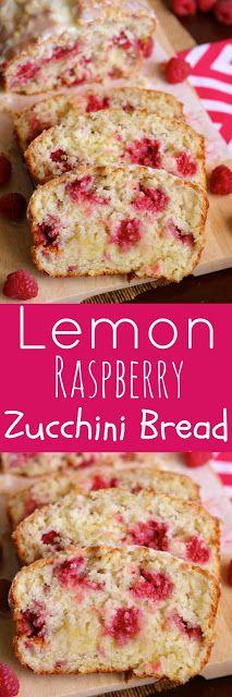 Lemon Raspberry Zucchini Bread with Lemon Glaze