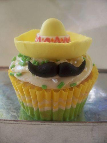 MExican 'Stache & Sombrero Cupcake