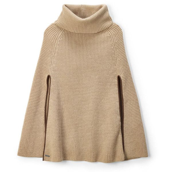 Ralph Lauren Lauren Waffle-Knit Cape (700 SEK) ❤ liked on Polyvore featuring outerwear, cape coat, ralph lauren turtleneck, ralph lauren, turtleneck tops and brown cape