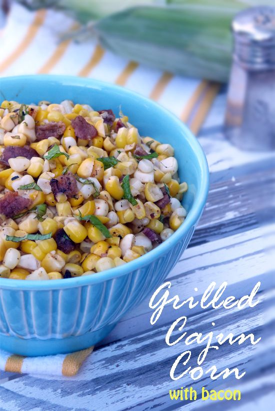 Grilled Cajun Corn with Bacon.  Simple, tasty side dish, perfect to bring to your next BBQ.  simplyyum.com