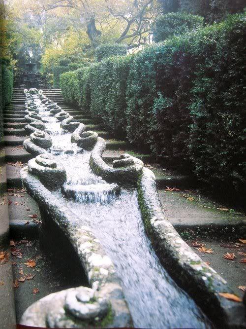 Villa Lante water gardens.    Villa Lante at Bagnaia is a Mannerist garden of surprise near Viterbo, central Italy, attributed to Jacopo Barozzi da Vignola.