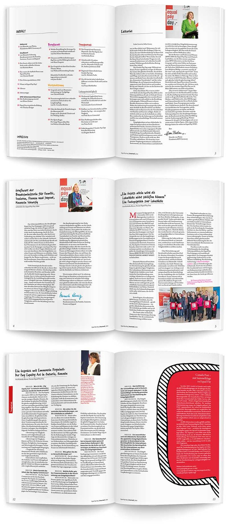 Magazin Layout Equal Pay Day 2016, Germany, A4, Zech Dombrowsky Design