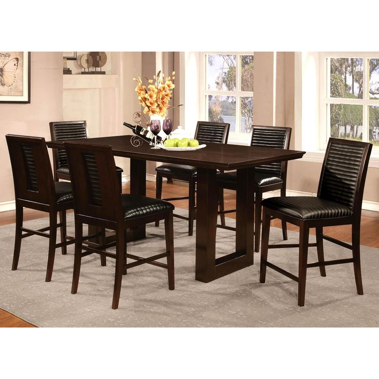 Sapire Channel Quilted Upholstered 7-pc Counter Height Dining Set