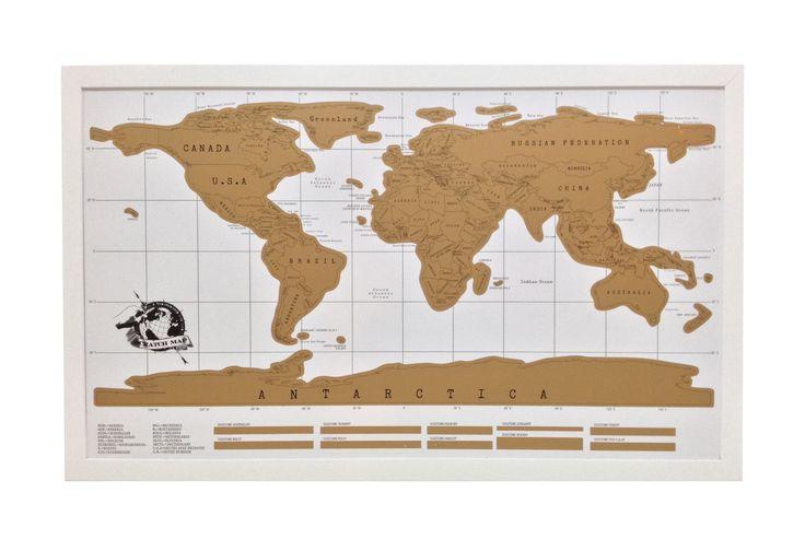Mapa raspable. Marco color blanco opaco 58 x 94 cm