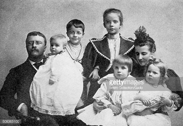Family portrait of the 26th American President from c.1901 - c.1909, Theodore Roosevelt, (1858-1919). ~ Pictured here, with his second wife Edith Carow Roosevelt, and the five children, c.1895. ~ {cwl} ~ (Getty Images)
