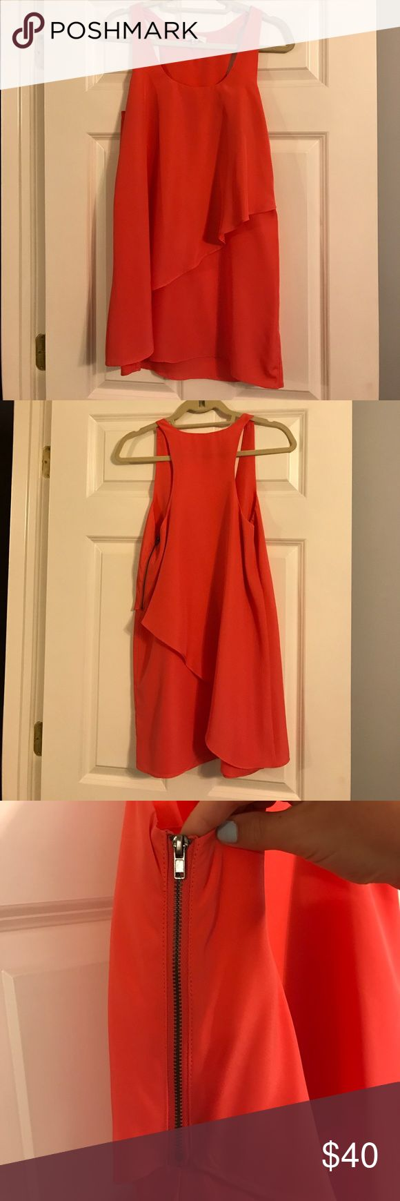 Urban Outfitter Coral Sundress Adorable coral sundress purchased at Urban Outfitters. 100% polyester. In great condition. Worn less than 5 times. Looks great for a summer party with sandals or wedges! silence + noise Dresses Mini