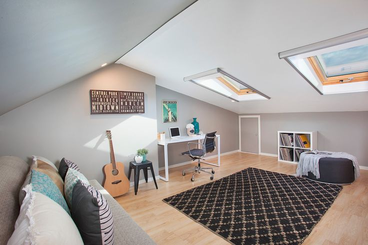 Huge attic retreat, Velux windows, guitars, rug, wall art, lounge, throw cushions, ikea cube, ottoman, throw, Pilcher Residential