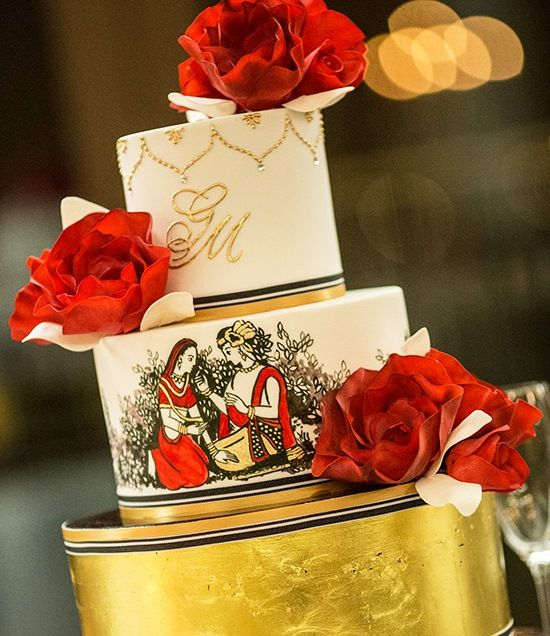 """This @Four Seasons Hotel Sydney chocolate mud and red velvet layer cake is hand-painted with """"Radha & Krishna,"""" names of the divine couple who symbolize love."""
