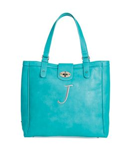 Such a gorgeous color! And it can hold your laptop and more. Twist Lock Tote from Initials Inc