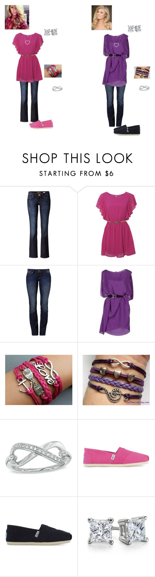 """""""Which Outfit do you like better?"""" by isongirls ❤ liked on Polyvore featuring Mavi, New York Industrie, TOMS, Blue Nile and Kwiat"""