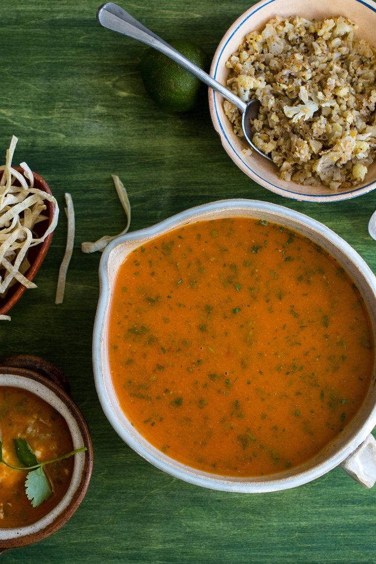 Tortilla Soup With Roasted Cauliflower 'Rice' Recipe - NYT Cooking