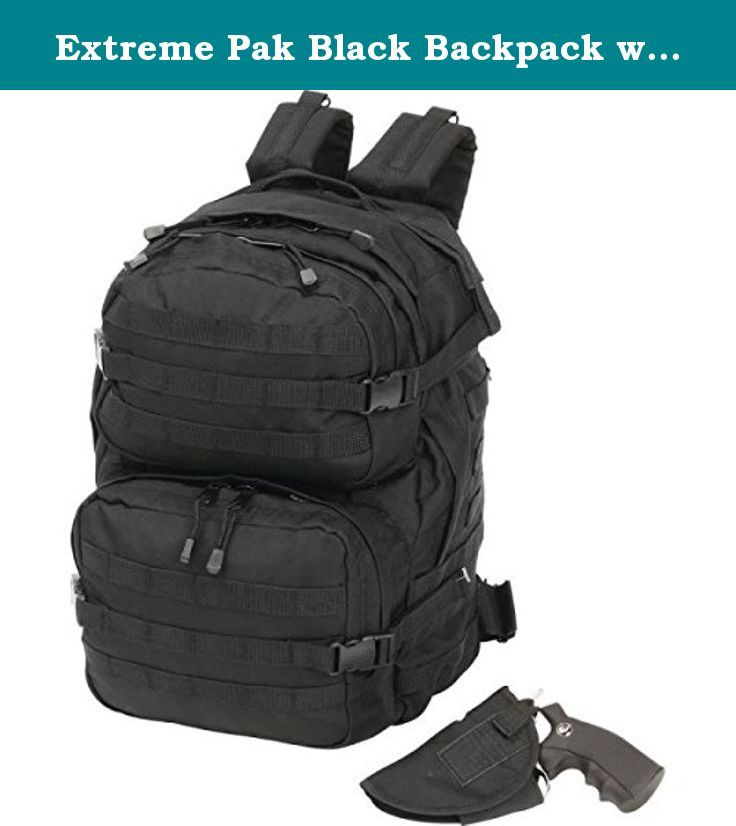 "Extreme Pak Black Backpack with Concealed Handgun Holster. Features 600d polyester construction, black hardware, ambidextrous access, handgun holster, 2 exterior zippered compartments, adjustable shoulder straps, waist fastener, and MOLLE system straps. Measures 13"" x 19"" x 9""."