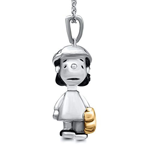#blackdiamondgem #jewelry-ad Peanuts Lucy with Baseball Gloves Black Diamond Accent Pendant in Sterling Silver