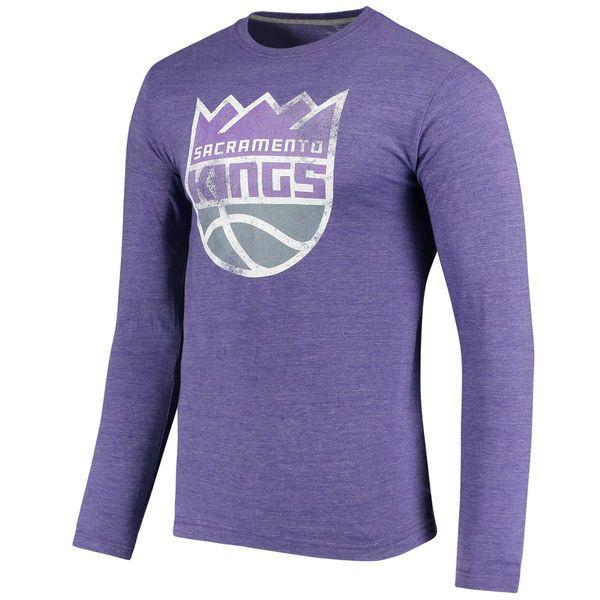 Men's Sacramento Kings Fanatics Branded Heathered Purple Distressed Logo Tri-Blend Long Sleeve T-Shirt