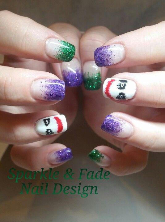 Handpainted Joker gel nails - Done by Christine Ingalls of Sparkle and Fade Nail Design https://www.facebook.com/SparkleAndFadeNailDesign