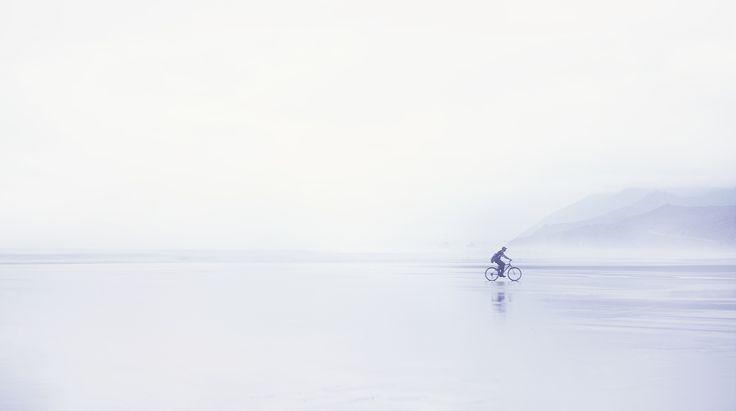 Beach Biker, West coast, Beach, Mist, Fog, Rain, Reflection, Calm, Our Land, Dan Max