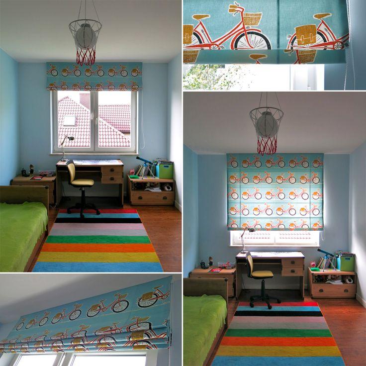 Roleta rzymska, pokój dziecka, pokój chłopca,  tkanina rowery Cykel SCION, dekoracje okienne, dekoracje tekstylne, styleathomepl,