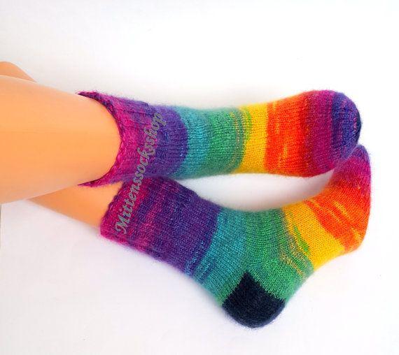 Hand knitted socks Rainbow socks Very warm by MittensSocksShop