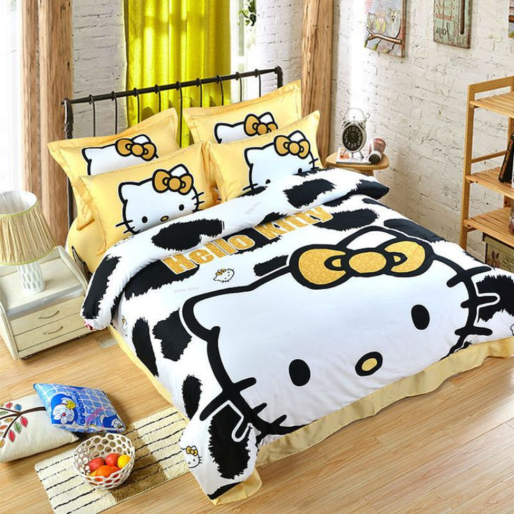 Hello Kitty Leopard Pattern QUEEN SIZE DOUBLE BED SHEET 4PC Cotton Bedding SET