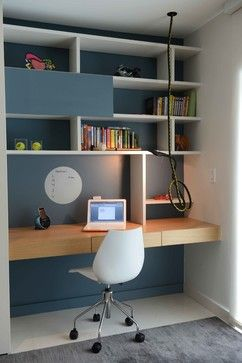 [but not with that chair...] Dark Blue Home Office Design Ideas, Pictures, Remodel and Decor