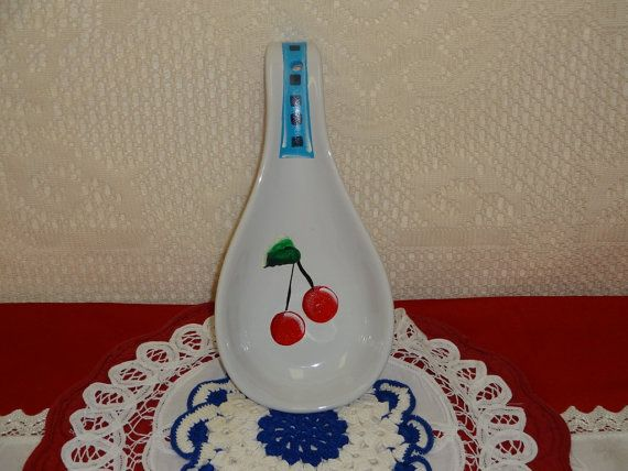 Hand Painted Cherry Glass Spoon Rest,,, Kitchen Decor, Home Decor, Cherry