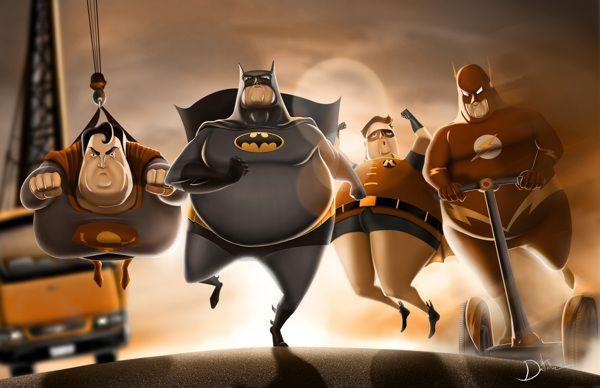 Fat Superheroes by Carlos Dattoli