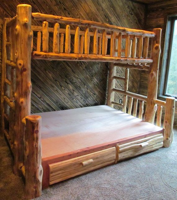 Cedar Log Bunk Bed with Drawers by MontanaRanchInterior on Etsy, $2995.00