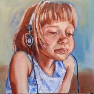 Oilpainting. Daughter with Headphones. By Maria Tomczak