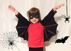 Schaurig schnelle Fledermausflügel für Halloween Es musste ganz schnell gehen, das Pseudo-Halloween-Kostüm für das Bärenkind. Und die größte Herrausforderung