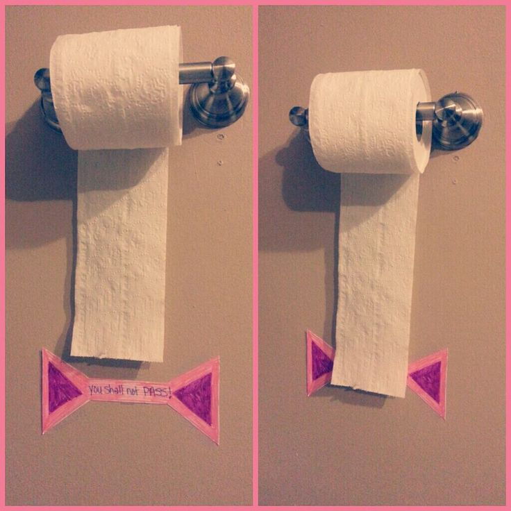 "For later toddler years: The ""You Shall Not Pass"" sign. A visual limit to how much toilet paper the child can take! Great for potty training!"