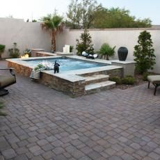 Mediterranean Hot Tub and Outdoor Living Space