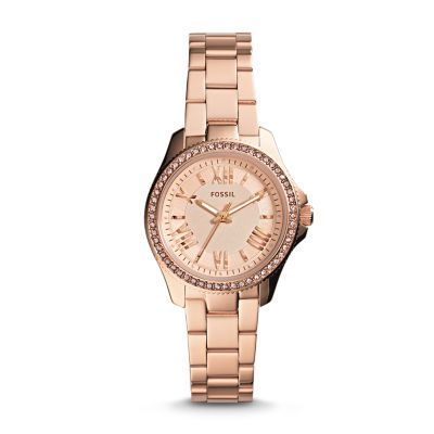 Cecile Small Rose-Tone Stainless Steel Watch Refined and reinvented for fall, the chic Cecile you know and love arrives in a new petite size. Fifty-four sparkling rose stones and classic Roman numerals modeled after vintage clocks prove it's timeless in more ways than one.*Modeled after vintage clocks, our Roman numerals are uniquely designed to provide artistic balance to the dial.