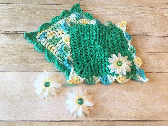 Crochet Dishcloth Green Crochet Washcloth by CraftCreationsbyRose