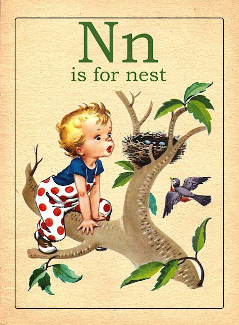 Vintage N alphabet card